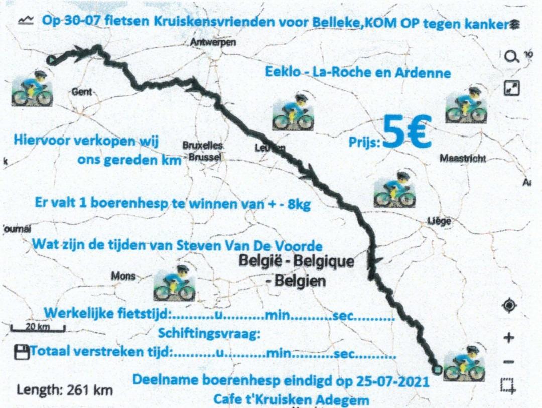 De Kruiskensvrienden fietsen voor Belleke en Kom op tegen Kanker.